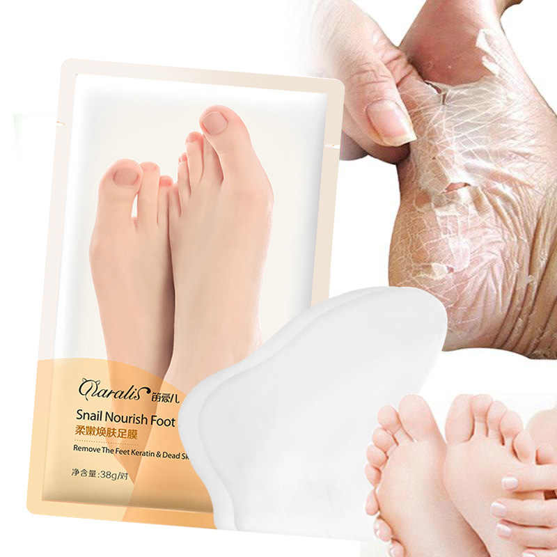Brand 1 Pairs Snail Extract Peeling Exfoliating Foot Mask Pedicure Socks Remove Dead Skin Heels Foot Peeling Mask for Legs TSLM2