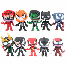 10Pcs/lot 9cm Superhero Venom Deadpool Spiderman Iron Man Captain America Action Figure Toys Doll for Kids Christmas Gift jhacg 18cm spiderman venom the villain action figure toys doll christmas gift no box
