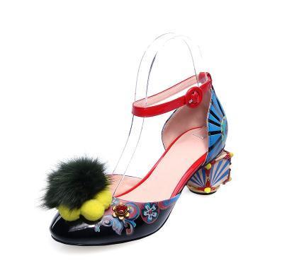 Женские кожаные сандалии maomao, кожаные сандалии с принтом в виде граффити, модная обувь с ремешком на щиколотке
