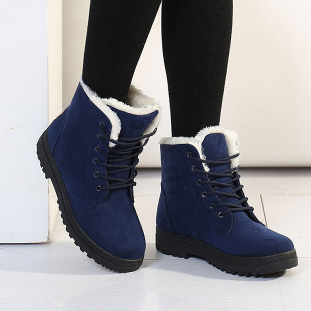 women ankle short boots flat heel winter leather warm casual comfort shoelace snow cotton shoes . black . 37