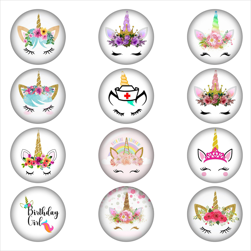 mixed Flamingo Unicorn 12mm/18mm/20mm/25mm glass snap button Round glass cabochon demo flat back Making findings BP2018