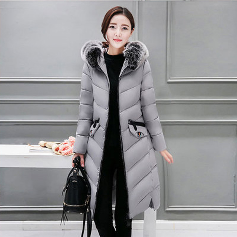 2019 New Fashion Winter jackets and   coat     Down   Jacket Hooded Cotton Fur Collar long   coat   Women Warm Outwear Plus Size