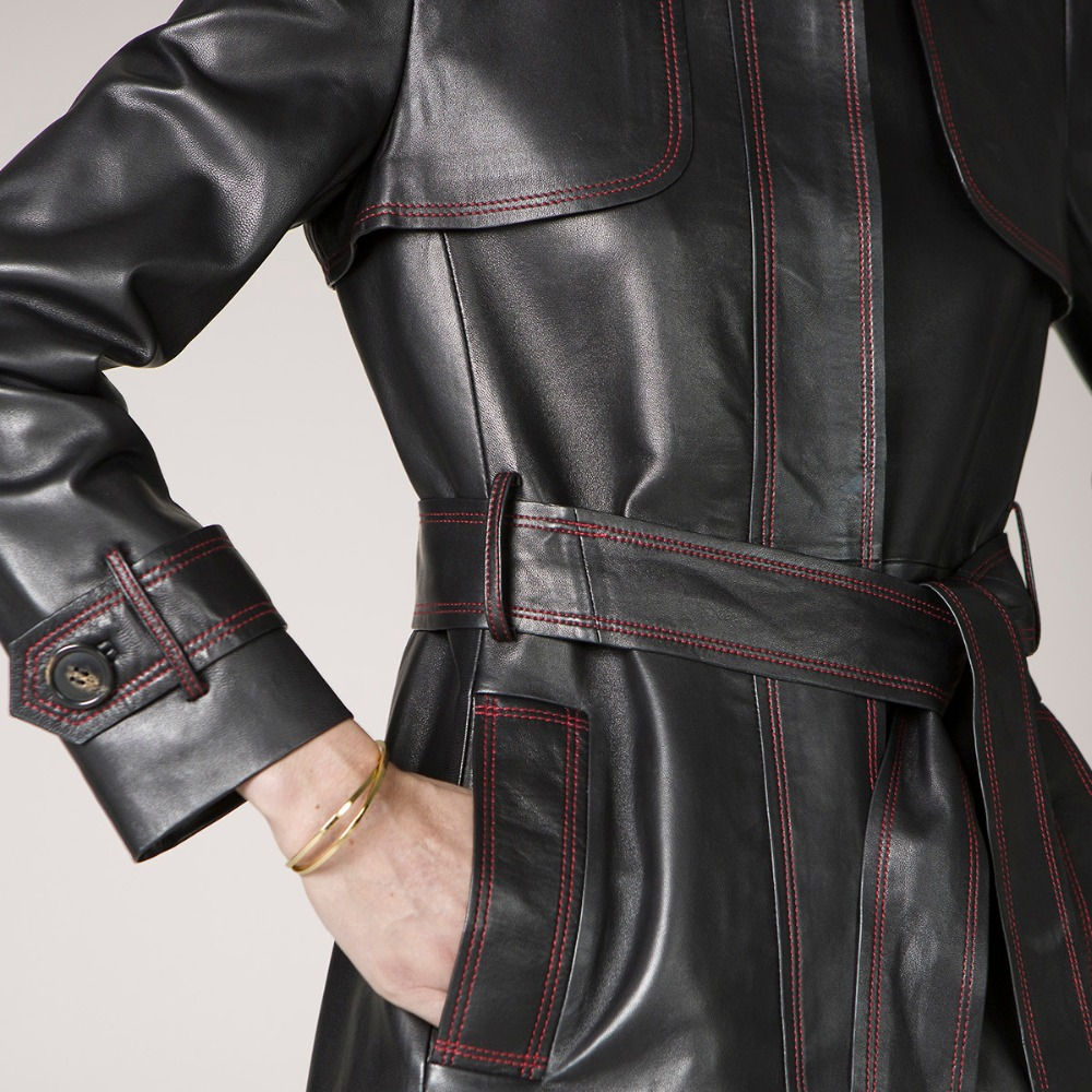 Véritable Noir Chaude Trench Pour Collar Manteau down En Turn 2018 Ceintures Escalier Long Cuir Vente Causal Tranchée Femmes Matériel wxYqnX4U