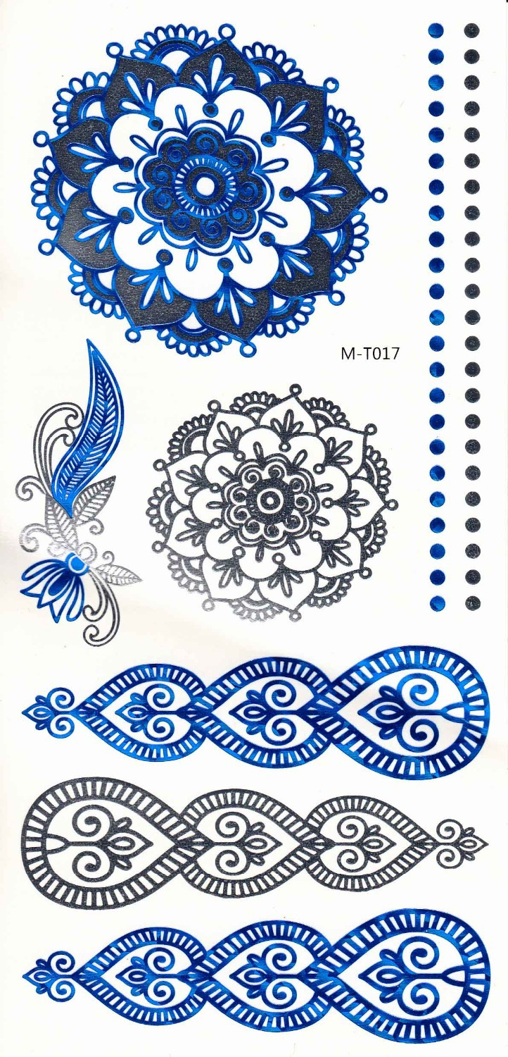 3sheets Flash Tattoos12designs for choose 21x15cm Blue Metallic tattoos Temporary Women New Year Party Body Art