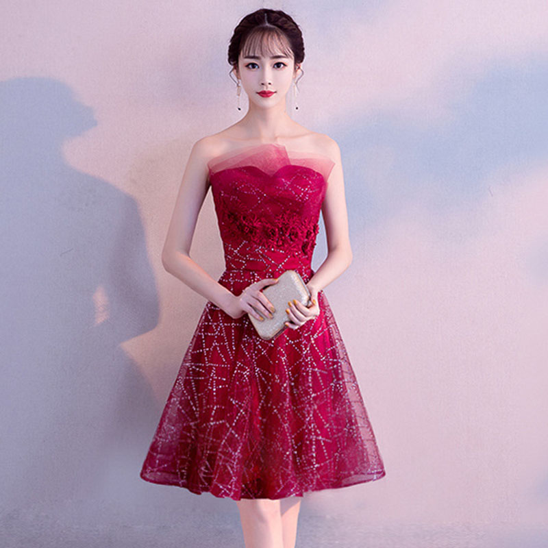 Sexy Tube Top Cocktail Dresses Mesh Flower Women Vestido De Noche Elegante Luxury  Bandage Eveing Party Ball Gown Dress