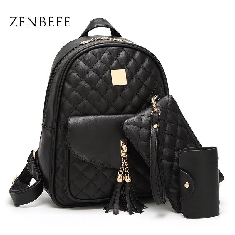 ZENBEFE 3pc/Set Women Backpacks Tassel Composite Bag For Lady Classic Women School Bags Vintage Travel Backpack For School Bags