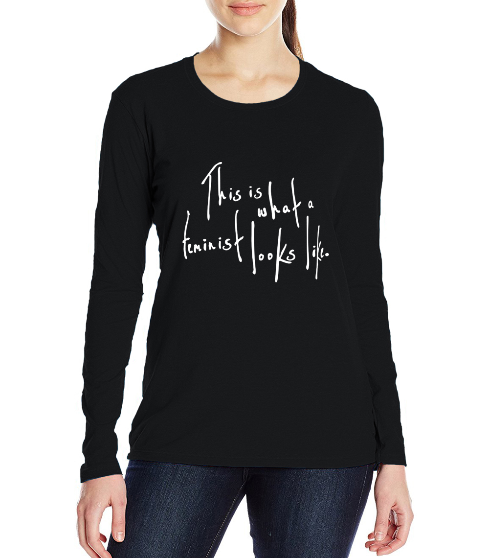 long sleeve O Neck camisetas mujer 17 This Is What a Feminist Looks Like tops tees hipster letter print t-shirts women 2