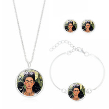 Vintage Jewelry Set with Silver Plated Glass Cabochon Frida Kahlo Pattern Pendant Necklace Earring and Bracelet Set for Women