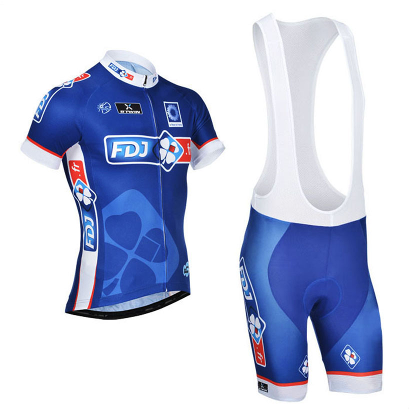 ФОТО 2015 FDJ Pro Cycling Jersey Short Sleeve BULE Cycling clothing Breathable Mountain Bike Clothes Quick Dry Bicycle Sportswear