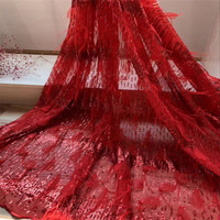 5yards/lot 2018 High quality nigerian french lace african lace 3D fabric for party dress V3 1,Free shipping RED