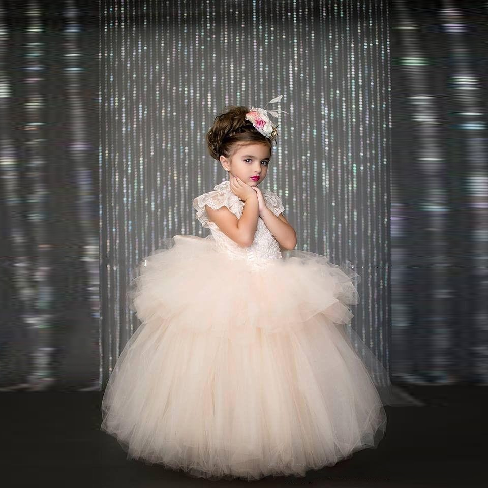 Lovely Ball Gown with Bowknot Back Lace Cap Sleeve Tulle Layered   Flower     Girl     Dresses   for Wedding Party Pageant Custom Made