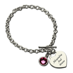 Image 5 - AILIN Personalized Heart Birthstone Bracelet In Sterling Silver Names Lover Charm Bracelet You and Me Name Bracelet Love Jewelry