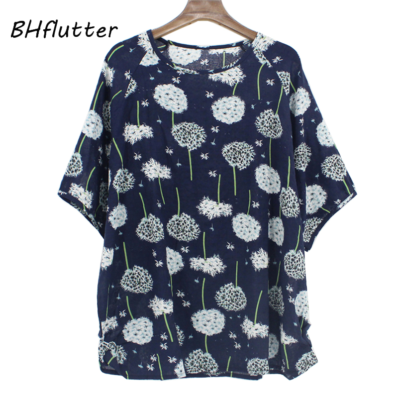BHflutter 4XL Plus Size Women Clothing 2019   Blouse     Shirt   Women Batwing Casual Summer Tops Tees Floral Print Cotton Linen   Blouses