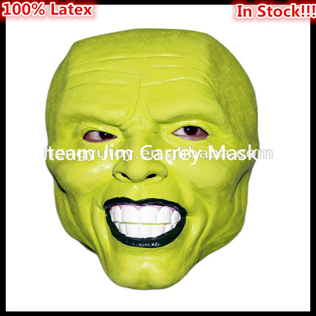 Free shipping Halloween Party Cosplay Movies Loki latex mask Jim Carrey Costume Fancy Dress Famous Movie Film Props 'The Mask' image