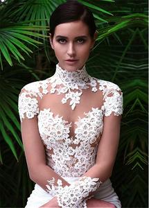 Image 4 - Wonderful Tulle & Satin Illusion High Neckline Mermaid Wedding Dresses With Lace Appliques