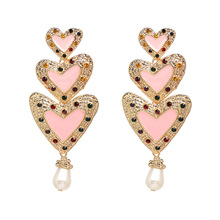 Trendy Elegant Simulated Pearl Long Dangle Earrings Pearls For Women Exaggerate Heart Drop Crystal Earrings Wedding Party Gifts pair of trendy faux pearls crystal chain drop earrings for women