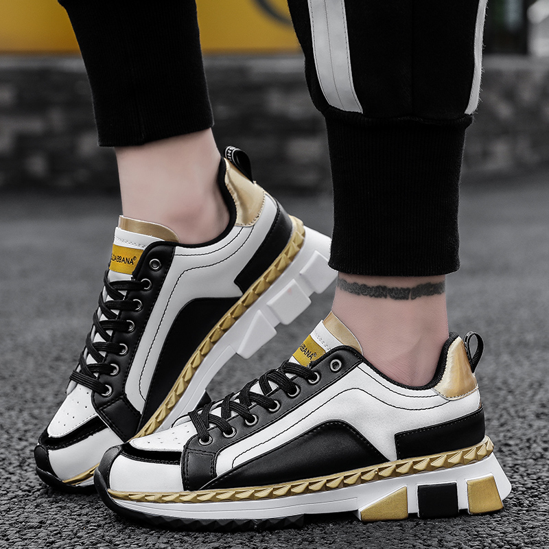 GUDERIAN Men's Fashion Casual Shoes Spring Summer Leather Sneakers Men Shoes Breathable Non-Slip Walking Shoes Sapatillas Hombre