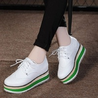 2018 Women Platform Oxfords Flats Shoes Genuine Leather Lace Up Pointed Toe Female Footwear Shoes Casual Women Creepers