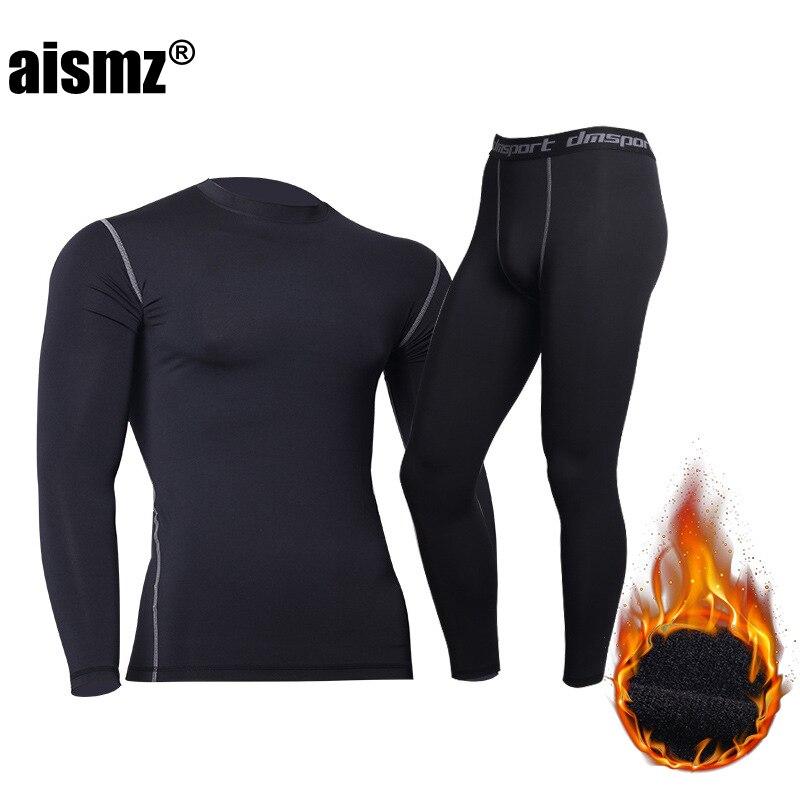 Термобелье Aismz, штаны + одежда для мужчин, быстросохнущие, теплые кальсоны с бархатом, комплект теплого нижнего белья для фитнеса