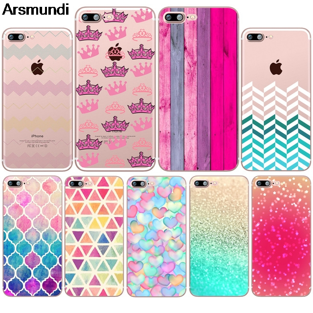 Arsmundi Princess Crown Lattice Beautiful Wooden Phone Cases for iPhone 5S 6S 7 8 Plus X Case Crystal Clear Soft TPU Cover Cases