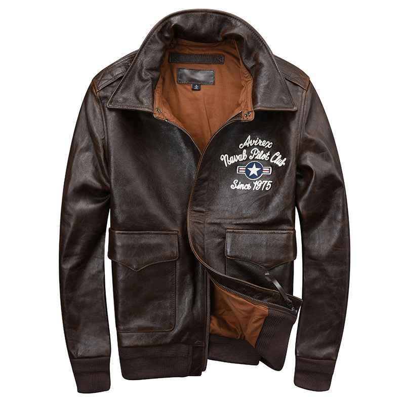 Jacket Aviator-Coat Harley Damson Military Pilot Russian-Spring USAF Genuine-Cowhide