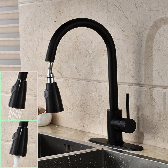 Oil Rubbed Black Pull Down Sprayer Kitchen Sink Faucet Contemporary