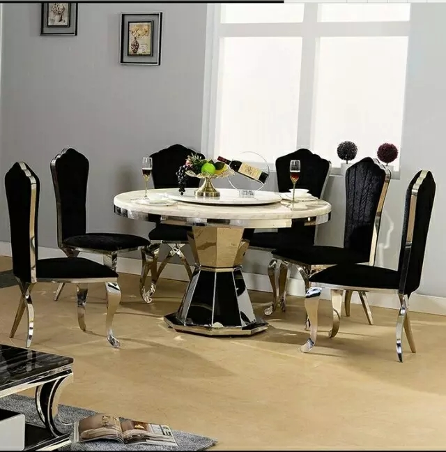 Stainless steel Dining Room Set Home Furniture minimalist modern glass dining table and 4 chairs mes