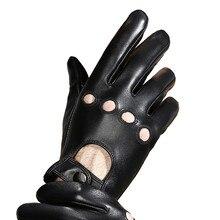 革手袋男性タッチスクリーンシープスキン機関車運転ファッション黒通気性本革男性ミトンns40