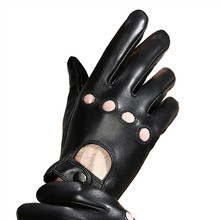 Leather Gloves Male Touch Screen Sheepskin Locomotive Driving Fashion Black Breathable Genuine Men Mittens NS40