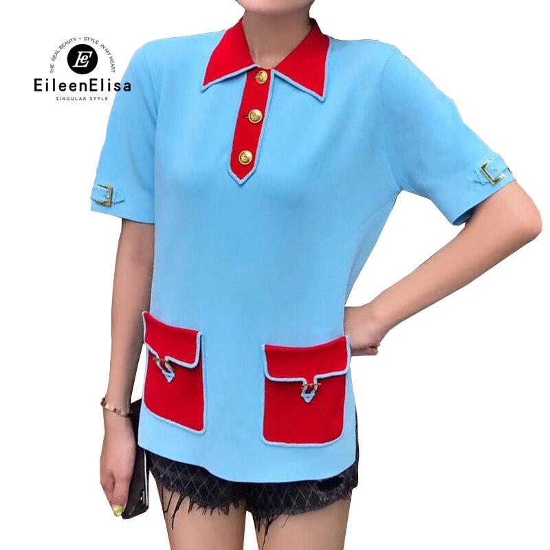 2019 новые женские футболки повседневные топы летняя рубашка женская футболка с красными карманами короткий рукав Футболка для женщин