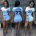 Newest Hot Sexy Vertical Stripe Brazilian Baseball 77 Printed Playsuit Shorts Women Set Sportwear Sexy Short Top Free Shipping