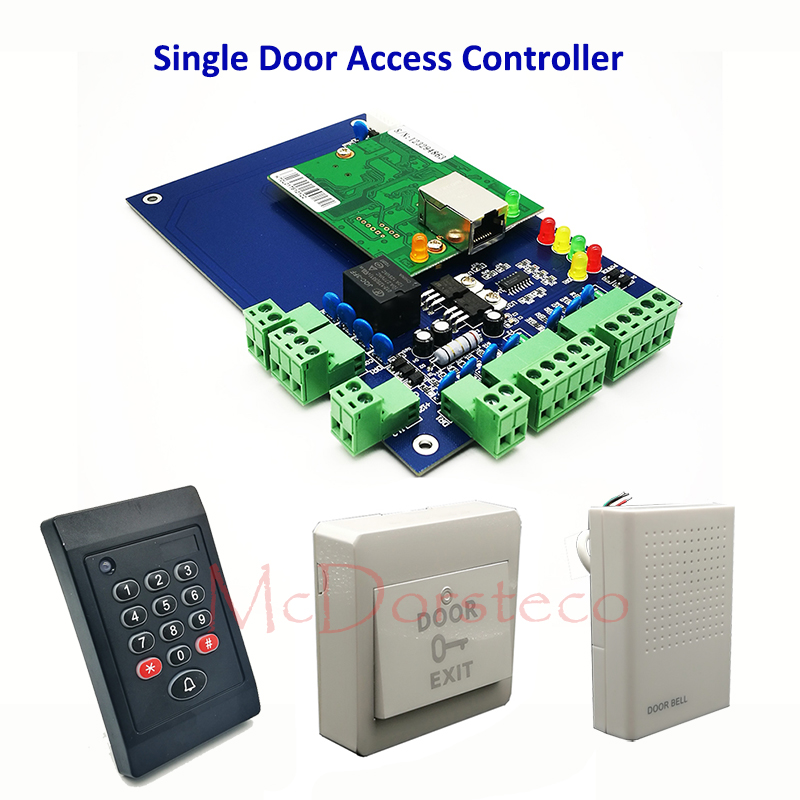 Single Door Access Control System TCP/IP One Door Access Panel Controller+ Rfid Reader + eixt Button + Door Bell one door rfid access control system single door access panel tcp ip access controller keypad rfid reader eixt button