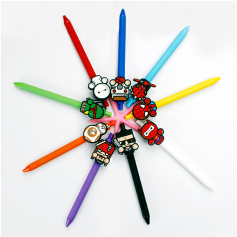 Image 4 - Star wars Cute Gel Pen Kawaii Gel Pen 0.5mm Black ink Candy color pens spider man for Kid Gift escritorio Papelaria-in Gel Pens from Office & School Supplies