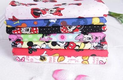 110*100cm Cartoon Mickey Mouse Minnie Mouse Child Cotton Fabric Baby Clothes/Diy Handmade Craft Bedding Home Cloth Purse Quilt