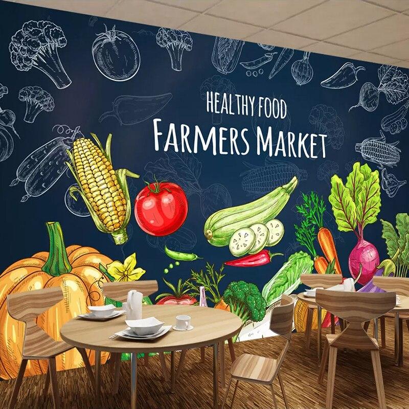 Custom 3d Photo Wallpaper Creative Hand Painted Healthy Food Fruit Vegetables Mural Supermarket Fruit Shop Restaurant Wall Decor Wallpapers Aliexpress