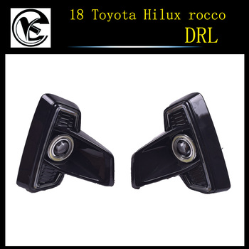 1 Set For Toyota Hilux Revo Rocco 2018 DRL LED Daytime Running Lights Diglight 12V ABS Fog lamp Cover With Turn Yellow Signal