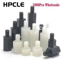 1000 stücke M3 * 5/6/7/8/9/10/11-40 + 6mm gewinde Nylon Schwarz oder Weiß Männlich-Weibliche M-F Schraube PCB Fest Nylon Hex Standoff Spacer Säule