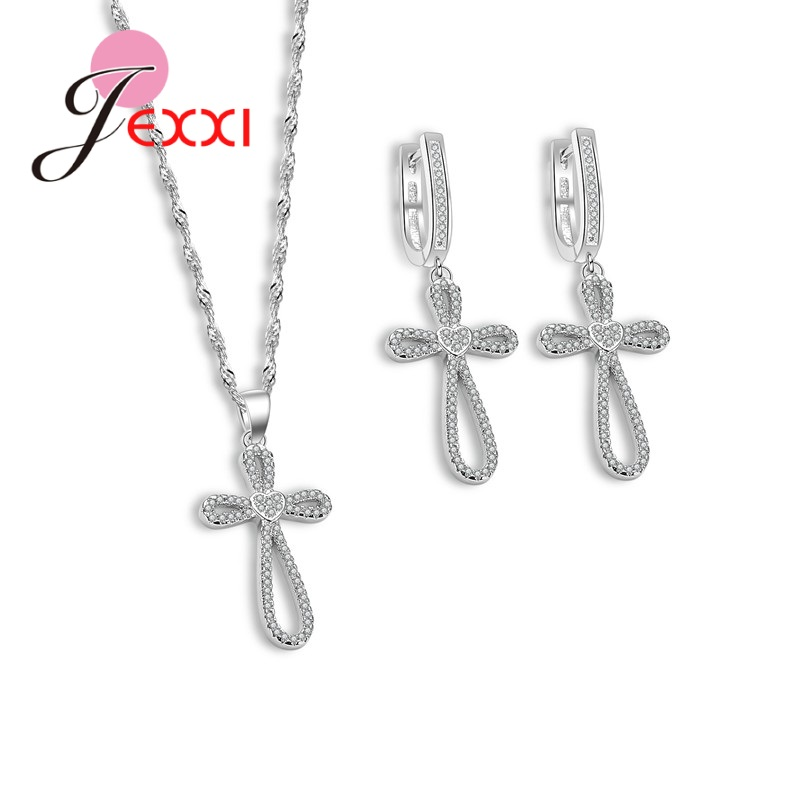 JEXXI 2017 Summer New Design Jewelry Set 925 Sterling Silver With Micro Stones For Women & Girl Wedding Jewelry Set.