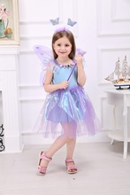Girls Fairy Dress with wings Halloween Costumes Purple Tutu Summer Sleeveless Tulip Fairy Dress with butterfly hair clasp & wand