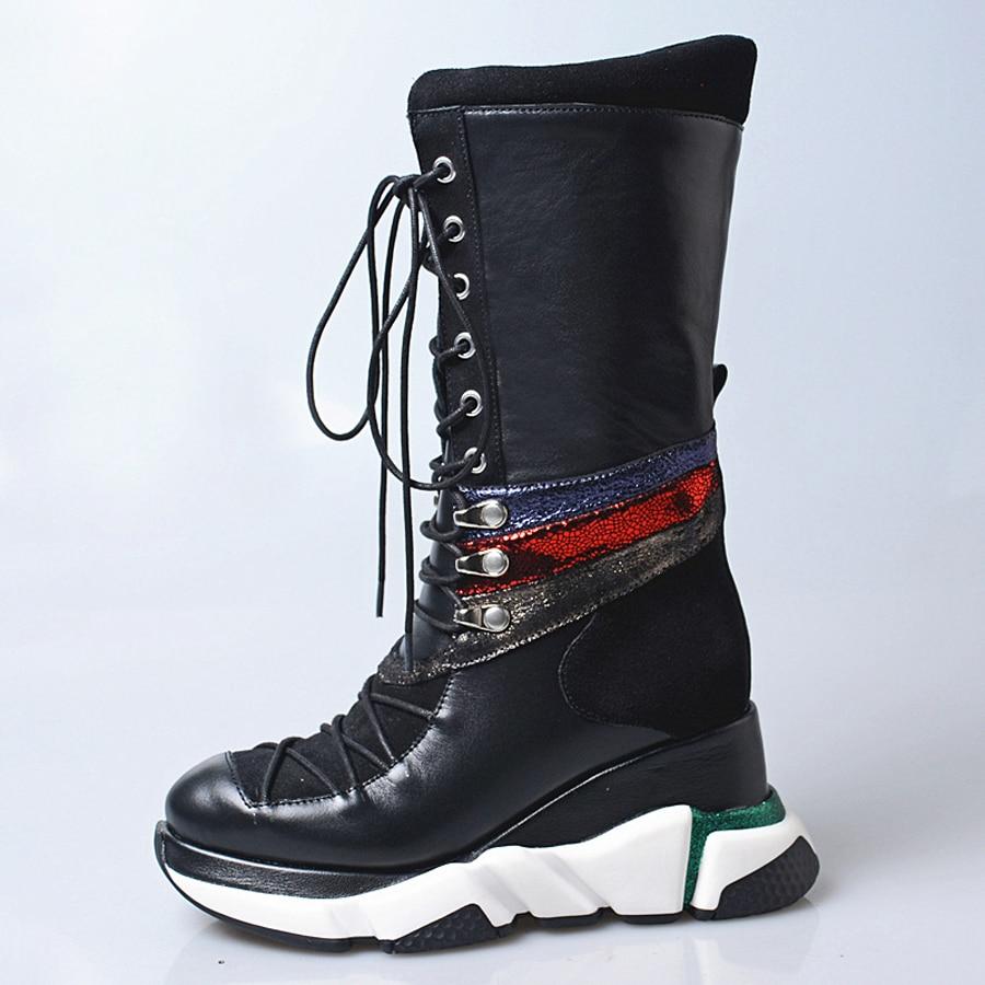 Prova Perfetto noir rouge en cuir véritable à lacets bottes décontractées femmes chaussures de sport plate forme accrue bottes mi mollet talon compensé-in Bottines from Chaussures    2