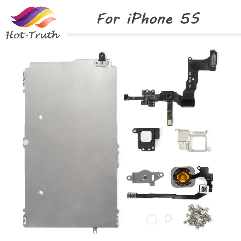 1 Set 8 Piece AAAQuality Full Set Spare Repair Parts For iPhone 5S LCD with Home Button Assembly+Flex Cable+Speaker+Front Camera