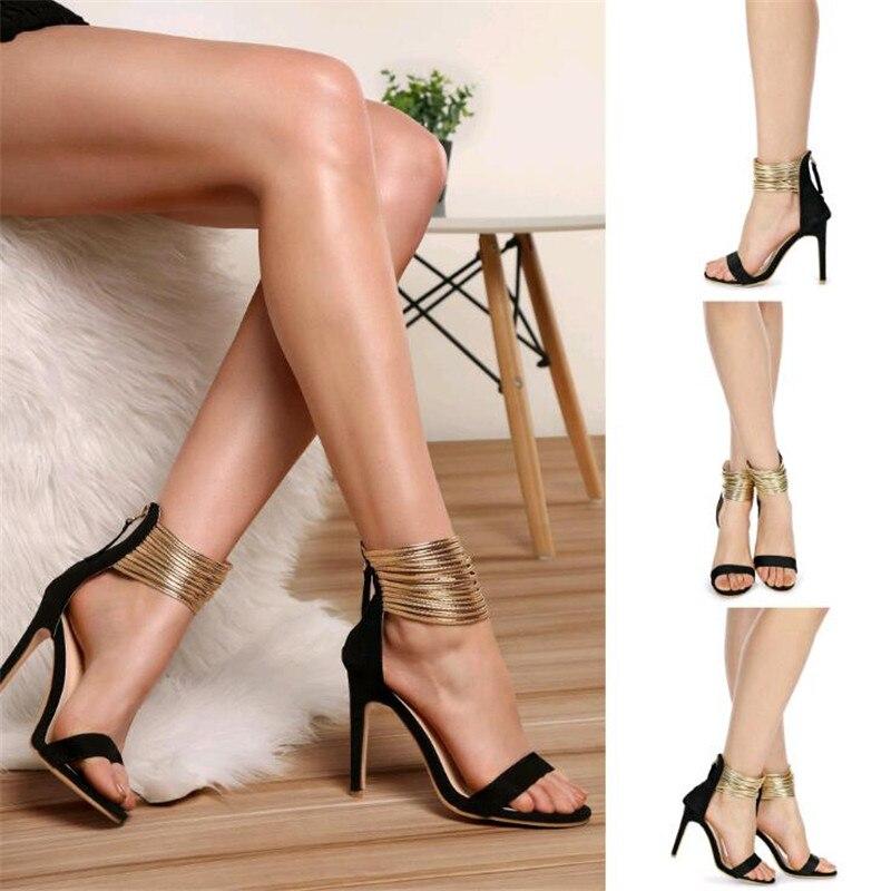 Americano De 2019 Mujeres Verano Nueva Negro Alto Primavera Las Moda marrón Zapatos Y Tacón Metal Sandalias Cadenas Europeo FwF7I1qE