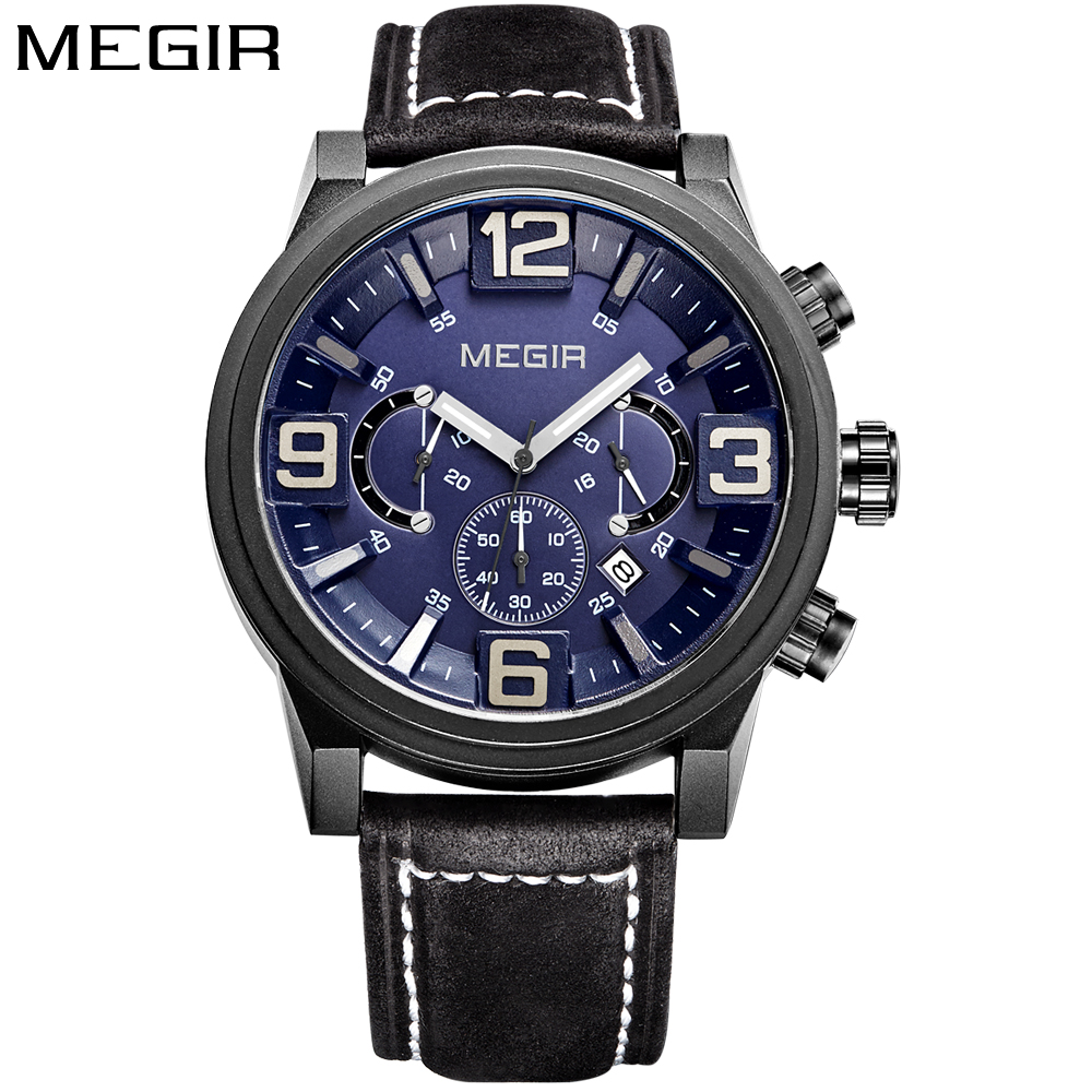 MEGIR Men's Big Dial Chronograph Sport Quartz Watch Mens Watches Top Brand Luxury Leather Strap Military Wrist Watch for men shiweibao cool watch men sport watch men golden big case four time zones military watches date leather strap mens quartz watches