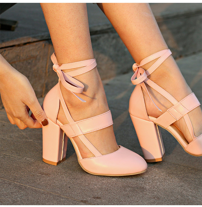 Women Pumps Comfortable Thick Heels Women Shoes Brand High Heels Ankle Strap Women Gladiator Heeled Sandals 8.5CM Wedding Shoes 5