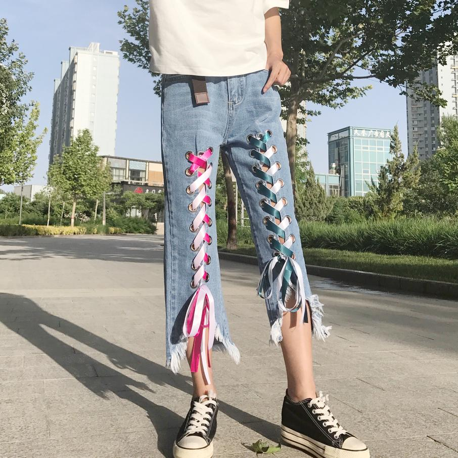 Hunter-wish 2017 Summer/ Autumn New Arrival  Personality Design Blue Thin Wash Water Cowboy Ribbons Straight Casual  Pants цены онлайн