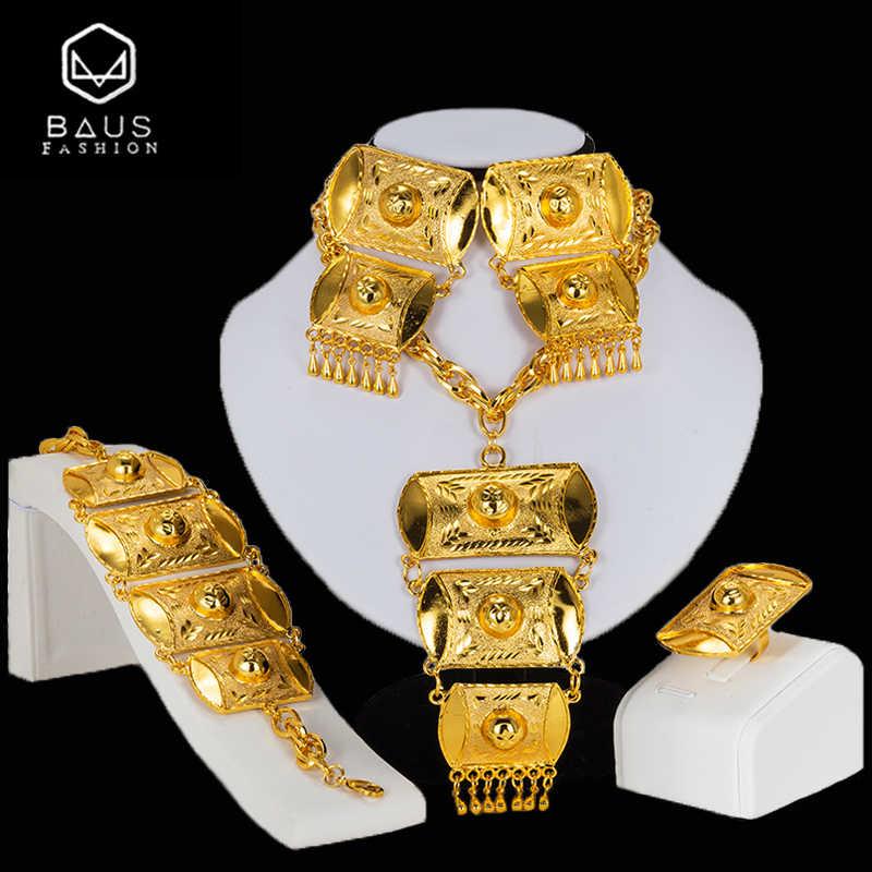 BAUS Dubai biżuteria ustawia nigerii ślubne duży naszyjnik wisiorek kolczyki afrykańskie koraliki biżuteria zestaw modna biżuteria ślubna zestawy