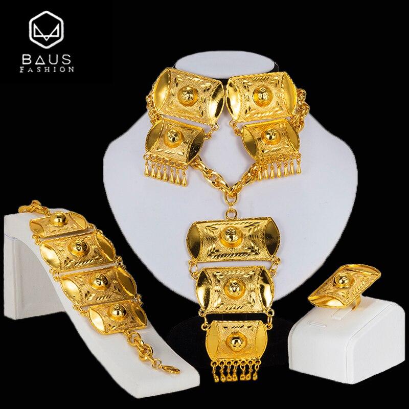 BAUS Dubai jewelry sets Nigerian wedding big necklace Pendant earrings African Beads Jewelry Set Fashion Bridal jewelry sets