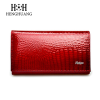 Women Luxury Brand Fashion Genuine Leather Wallet Women Alligator Hasp Small Ladies Purse Female Short Design
