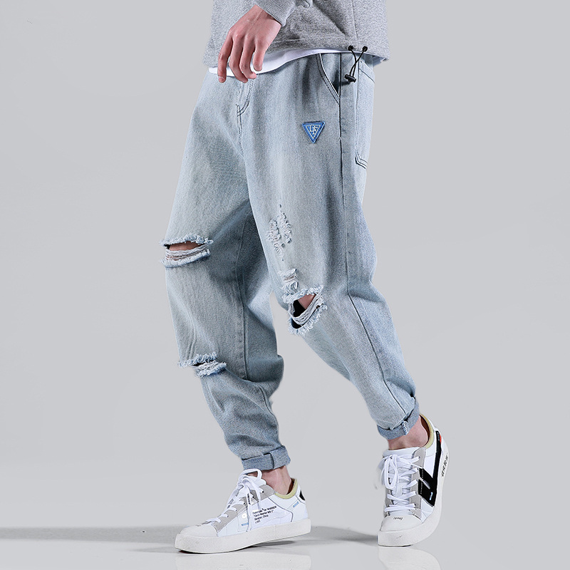 hip hop jeans men modis jean homme streetwear kot pantolon blue denim pants  uomo loose harem pants