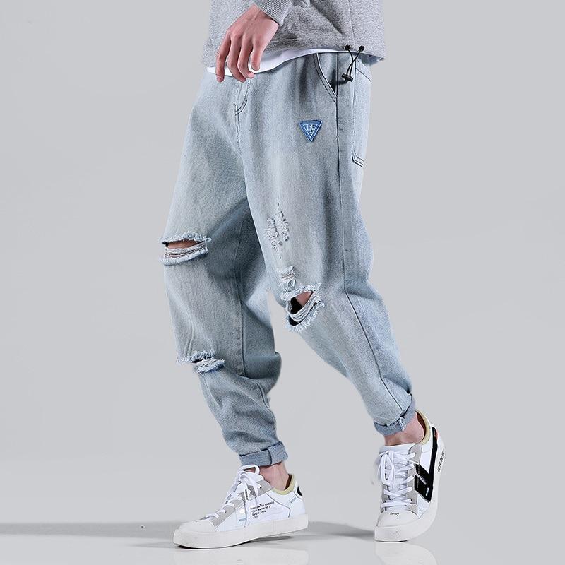 Hip Hop Jeans Men Modis Jean Homme Streetwear Kot Pantolon Blue Denim Pants Uomo Loose Harem Pants Ripped Jeans Kpop Vaqueros